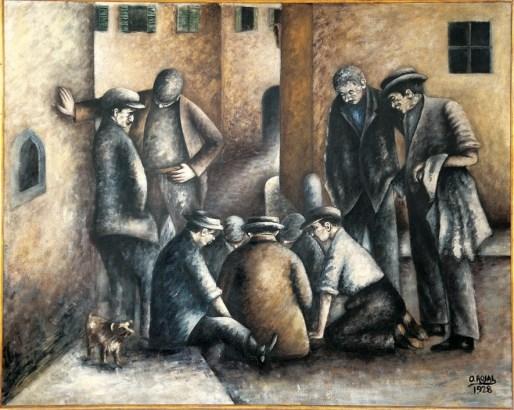 Ottone Rosai, I giocatori di Toppa, 1928, olio su tela, 160x200 cm Collezione Banca Monte dei Paschi di Siena