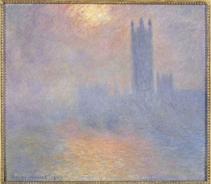 Claude Monet, Londres, le Parlement. Trouée de soleil dans le brouillard, 1904, olio su tela, 81.5x92.5 cm, inv. RF 2007 17(i.d 36) Monet 17, Paris, Musée d'Orsay © RMN-Grand Palais (Musée d'Orsay) / Hervé Lewandowski