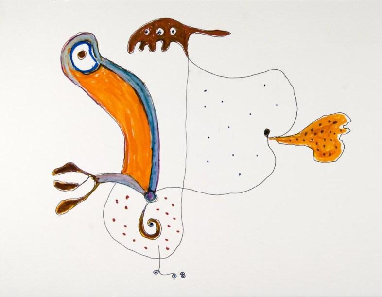 Gillo Dorfles, Senza titolo, 2008, pennarello e acquarello su carta, 22x28 cm Collezione A & C, Como