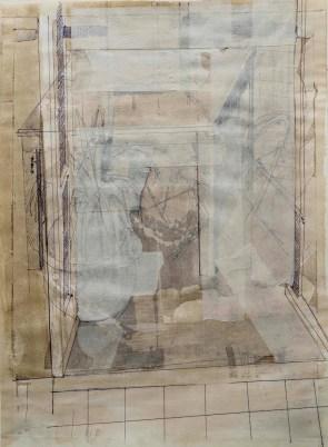 Luca Zarattini, Interno 11, 2015, tecnica mista su carta, 40x30 cm Courtesy RvB Arts, Roma