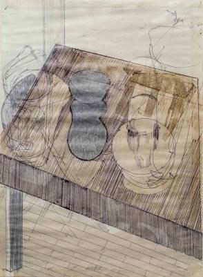 Luca Zarattini, Interno 12, 2015, tecnica mista su carta, 40x30 cm Courtesy RvB Arts, Roma