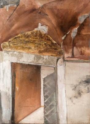 Luca Zarattini, Interno 6, 2015, tecnica mista su tavola, 125x90 cm Courtesy RvB Arts, Roma