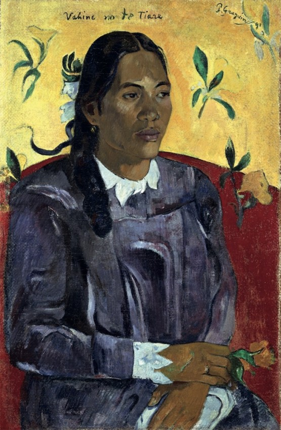 Paul Gauguin, Donna tahitiana con fiore, 1891, olio su tela, 70.5×46.5 cm, Copenhagen, Ny Carlsberg Glyptotek