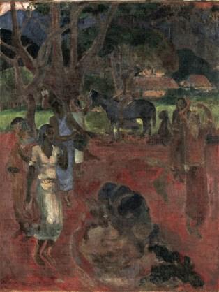 Paul Gauguin, Paesaggio tahitiano con nove figure, 1898, olio su tela, 193×73 cm, Copenhagen, Ny Carlsberg Glyptotek