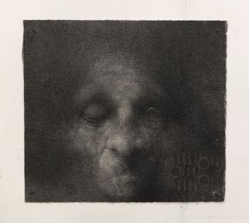 Lorenzo Cardi, Impronta2, fusaggine, chiodi, carta Arches, cm 32,5x35,5