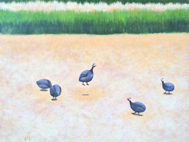 Kyoko Dufaux, La faraona galleggiante, 2015, acrilico su tela, 46x53 cm Courtesy Galleria Paraventi Giapponesi - Galleria Nobili, Milano