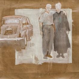 Massimo Lagrotteria, Senza titolo, 2012, olio su carta, 50 x 50