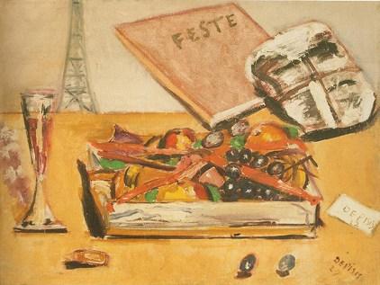 Filippo De Pisis Natura morta con la scritta Feste 1927 Olio su tela 50 x 65 cm Courtesy: Galleria Tega, Milano