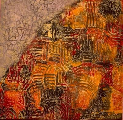 Marina Berra, Oltre il cancello, 2015, tecnica mista su tela, 60x60 cm