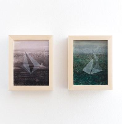 Thomas Scalco, Apparizioni, Dittico, Acrilico su tavola, 19x15 cm, 2014