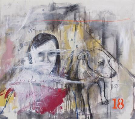 Ersilia Sarrecchia, Women 18, 2015, olio, acrilico, grafite, vernici industriali su tela di cotone su tavola, cm 75x85