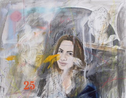 Ersilia Sarrecchia, Women 25, 2016, olio, acrilico, grafite, vernici industriali su tela su tavola, cm 75x95