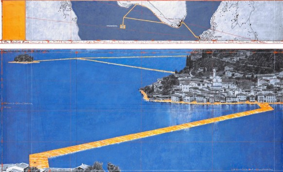 Christo, The Floating Piers (Project for Lake Iseo, Italy), Drawing in two parts, 2014, pencil, charcoal, pastel, wax crayon, enamel paint, hand-drawn map, cut-out photographs by Wolfgang Volz, fabric sample and tape, 38x244 cm and 106.6x244 cm Photo André Grossmann © 2014 Christo