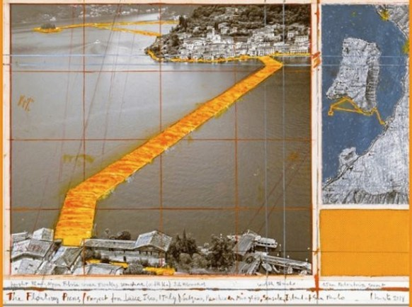 Christo, The Floating Piers (Project for Lake Iseo, Italy), Collage, 2014, pencil, wax crayon, enamel paint, photograph by Wolfgang Volz, map, fabric sample and tape, 43.2x55.9 cm Photo André Grossmann © 2014 Christo