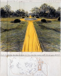 Christo, Wrapped Walk Ways (Project for Loos Park, Kansas City, Missouri), 1978, collage, pencil. Fabric, charcoal, pastel, 71.1 x 55.9 cm photograph by Wolfgang Volz, wax crayon and map Photo: Eeva-Inkeri Copyright: Christo 1978