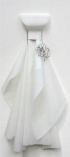Mariella Bettineschi, La Vestizione dell'Angelo, 1996, carta da lucido, acetato, pennarello, 110x53x11 cm