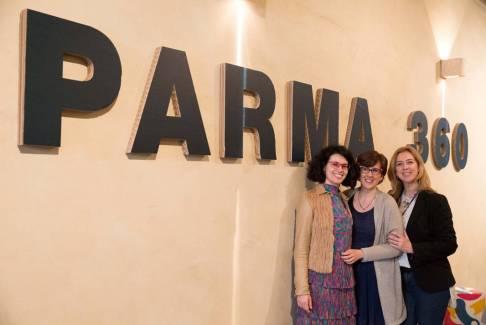 Direzione artistica Parma 360: da sinistra Chiara Canali, Camilla Mineo, Simona Manfredi. Courtesy Ph. Federico Avanzini