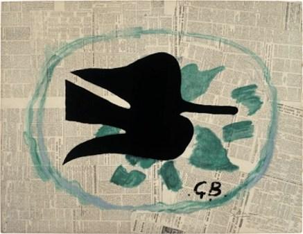 Georges Braque, L'oiseau dans le feuillage, 1961, litografia su carta su cartone, 80.5x105 cm, Collezione Annette e Peter Nobel