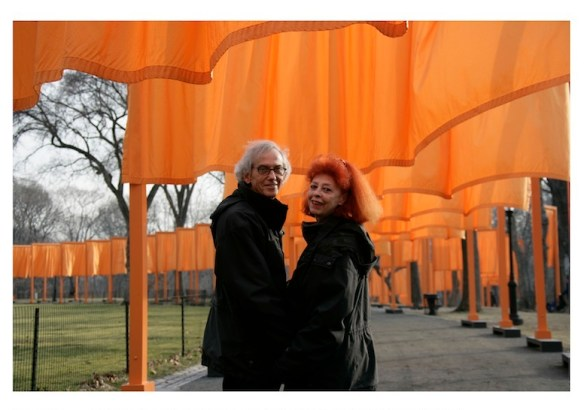 """February 2005, Christo and Jeanne-Claude during the work of art """"The Gates, Central Park, New York City, 1979-2005"""" Photo: Wolfgang Volz (c) Christo 2005"""