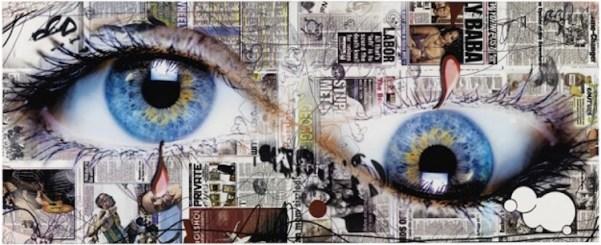 Urs Fischer, yummyhorseseeye, 2013, pannello in fibra di legno, serigrafia su carta, vernice acrilica, acciaio, 75.7x318.5x129 cm, Collezione Annette e Peter Nobel