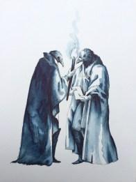 Vanni Cuoghi, Incontro notturno, 2015, acquerello su carta, cm. 30x23
