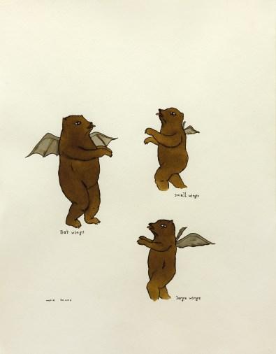 Marcel Dzama, Bat wings, small wings, large wings, 2000, disegno, inchiostro e acquerello su carta, cm. 35,5x27,5