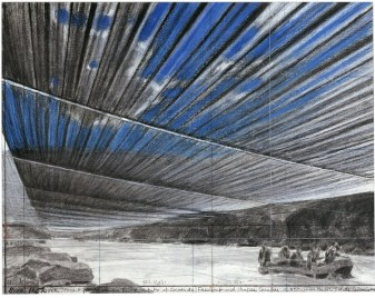Christo, Over the River, Project for Arkansas River, State of Colorado, 2008, drawing, 55.9 x 71.1 cm (22 x 28''), pencil, charcoal, pastel, wax crayon and wash Photo: André Grossmann (c) Christo Ref #20