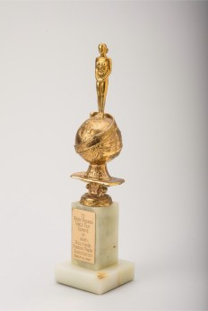 Original Golden Globe Henrietta Award given to Rock Hudson in the category World Film Favorite: Male 1959. Collection Stampfer. Photo + Copyrights Ted Stampfer