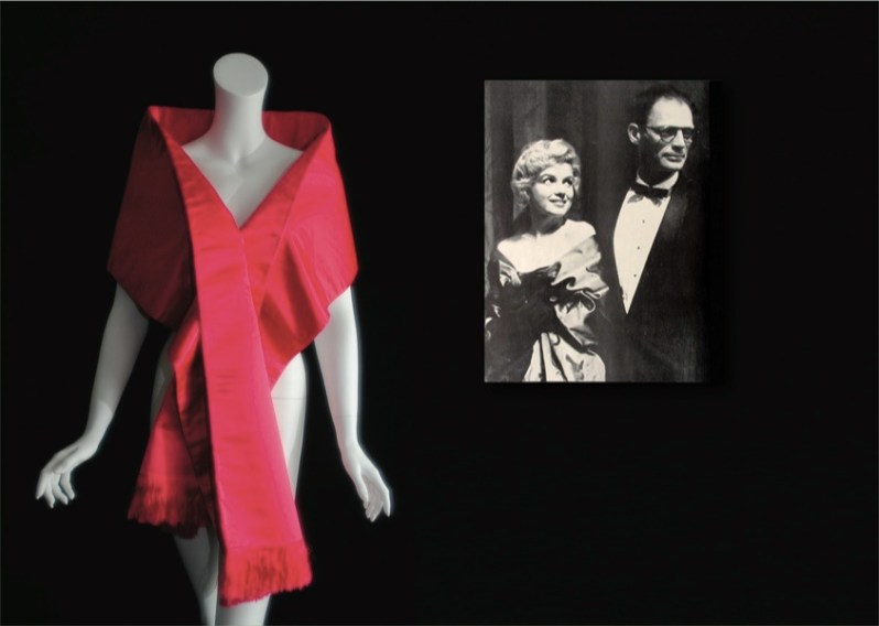 Marilyn Monroe's pink evening satin stole and press photo. Collection Stampfer. Image collage: Copyrights Ted Stampfer