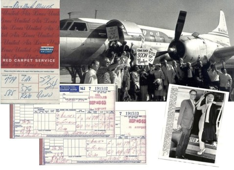 Original press photo and flight tickets von Marilyn Monroe and husband Arthur Miller 1961. Collection Stampfer. Image collage: Copyrights Ted Stampfer