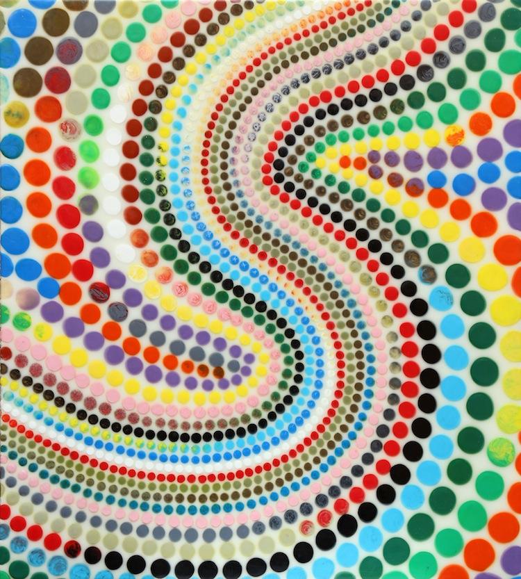 Davide Nido, Coriandoli in onda, 2007, colle su tela, 100x90 cm Courtesy Galleria Blu, Milano