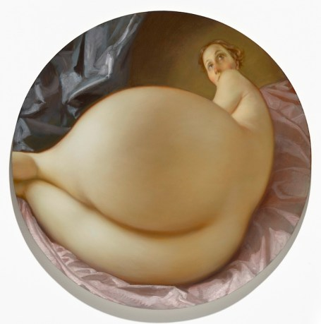John Currin, Nude in a Convex Mirror, 2015, olio su tela, diametro 106.7 cm Private Collection © John Currin Courtesy Gagosian Gallery Photography by Douglas M. Parker Studio