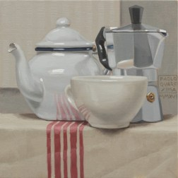 Paolo Quaresima, The o caffè, 2016, olio su tavola 20 x 20 cm