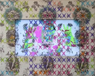 Vincenzo Marsiglia, Love Star Interactive, 2010-11, acrilico su seta, lcd, webcam, software, 48x60 cm