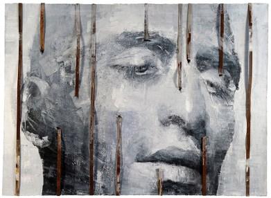 Vitaliano, Wa 02.016, 2016, pittura e materiale, integrazione e sviluppo, 110x150 cm