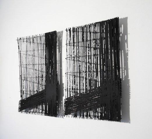Antonella Zazzera, C/S B 110-08, C/S B 111-08, 2013, cellulosa, fili di rame e pigmento nero, 65×45 cm (ciascuno) Foto di Alessandro Antonelli