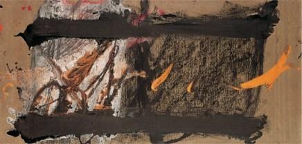 Antoni Tàpies, Composizione con macchia arancione, 1968, acrilico su cartone, 33x68 cm