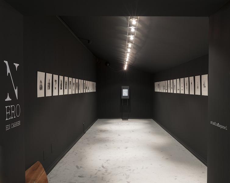 Edi Carrer. Nero, veduta dell'allestimento, Palazzo del Cinema/Hiša Filma - Kinemax, Gorizia
