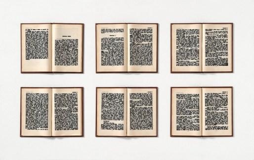 Emilio Isgrò, I promessi sposi non erano due, 1967, china su libri tipografici in box di legno e plexiglass, 63x103 cm, Collezione privata