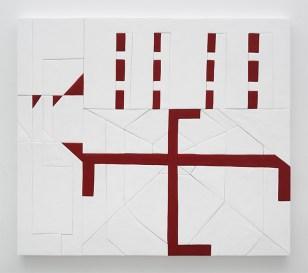 Sadie Benning, Swaz, 2016, medite, resina all'acqua, caseina, acrilico, 139,7 x 160,2 cm. Courtesy the artist and kaufmann repetto, Milano / New York © the artist