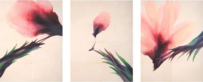 Davide Benati, Conversazione, 2009, trittico, acquerello su carta intelata, cm 195x147,5