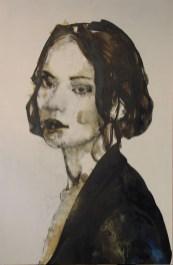 Domenico Grenci, Agnes, 2015, bitume, olio e carboncino su tela, cm 152x101