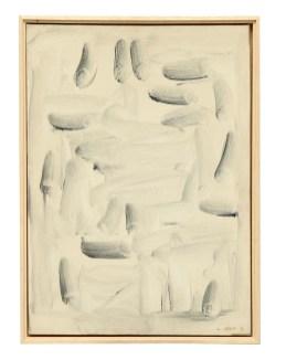 Lee Ufan, With winds, 1991, olio e pigmenti minerali su tela, 70x50 cm Courtesy Lorenzelli Arte, Milano