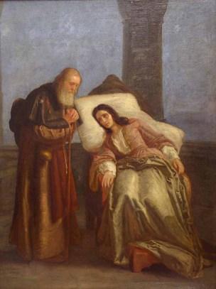 Fraschieri Giuseppe, Pia De'Tolomei nel castello di Maremma, olio su tela, cm.73x97