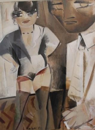 Galleria de' Bonis - Alberto Manfredi, Autoritratto con E, 1971, olio su tela, cm. 61x47