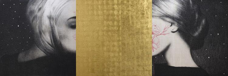 Omar Galliani, Nuovi Mantra, 2015, matita nera su tavola e foglia d'oro, trittico, cm 150x450