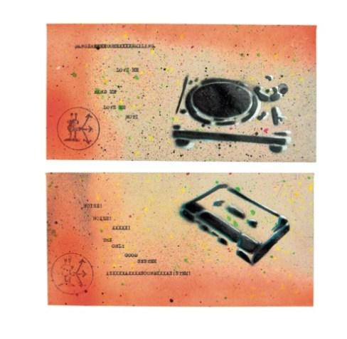 Giacomo Spazio,Part time poetry, macchina da scrivere, colore e spray su carta, (2x) 22x11 cm, 2016