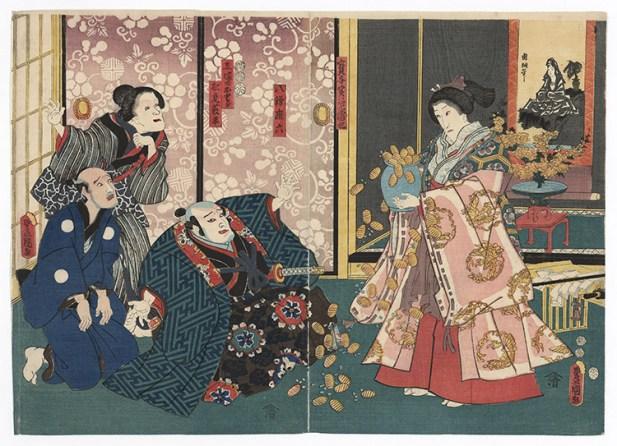 UTAGAWA KUNISADA (1786-1865) Finto miracolo di una finta sacerdotessa 1852