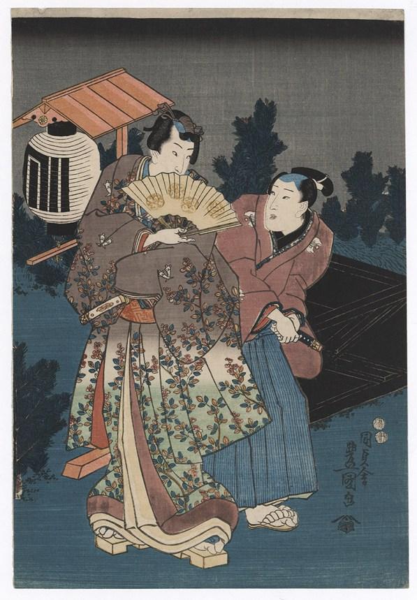 """UTAGAWA KUNISADA (1786-1865) Il """"Genji campagnolo"""" in una scena notturna 1847-1853"""