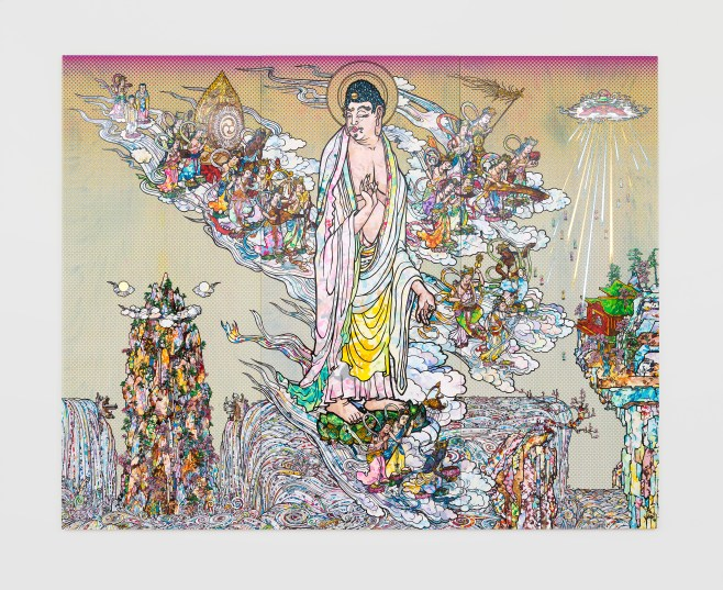 Amitābha Buddha descends, Looking over his shoulder, 2015 © 2015 Takashi Murakami/Kaikai Kiki Co., Ltd. All Rights Reserved. Courtesy Galerie Perrotin
